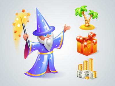 wizard icon, icons, present, island
